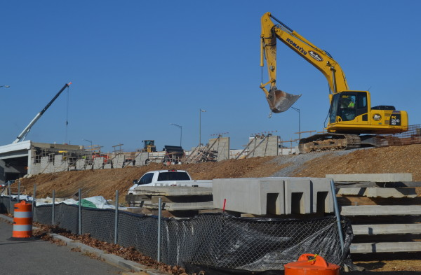Work on the 11th Street offramp a year ago, at the site of the old Anacostia Engine House (RSP)