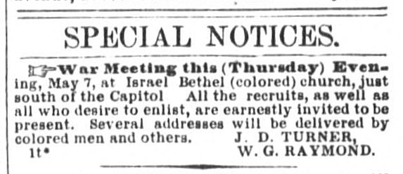 Ad from the Daily National Republican announcing a 'War Meeting' for the evening of May 7, 1863. (LOC)