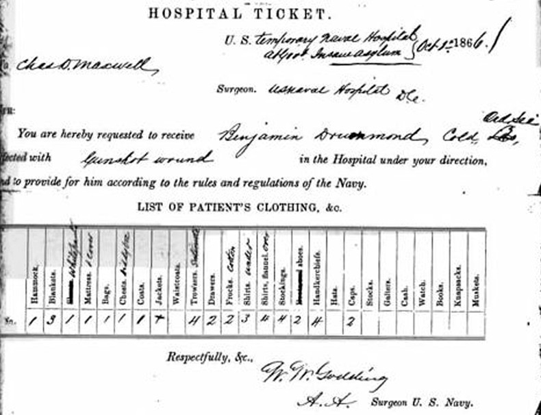 Hospital ticket filled out when Drummond was admitted to the Naval Hospital on October 1, 1866. (hillcenterdc.org)