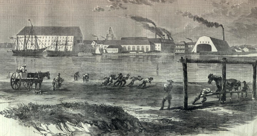 Civil War-era print showing the Navy Yard - with its large ship houses - and shad fishermen at work on the opposite shore of the Anacostia River (sonofthesouth.net)