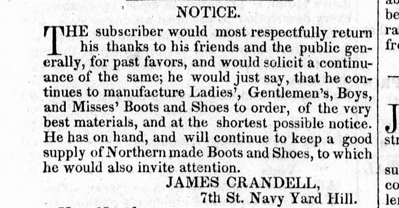1845 advertisement for James Crandall, who along with selling clothing, was also a Justice of the Peace (LoC)