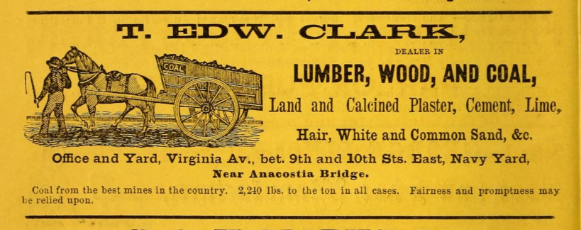 Ad for T. Edward Clark's coal and lumber business from the 1860 Washington City Directory (Archive.org)