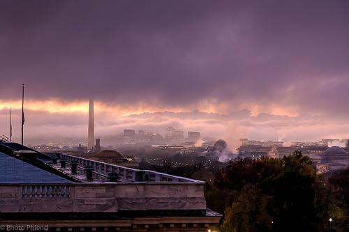 Washington, DC at sunset, Nov. 19, 2015
