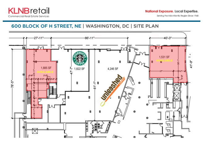 Main floor diagram for the 600 Block of H Street NE property by KNLB retail, via PopVille.