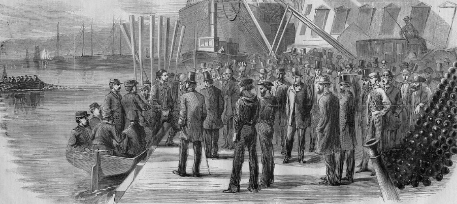 Detail of engraving from March 16, 1867, Harper's Weekly, showing the arrival of John Surratt at the Navy Yard. (Archive.org)