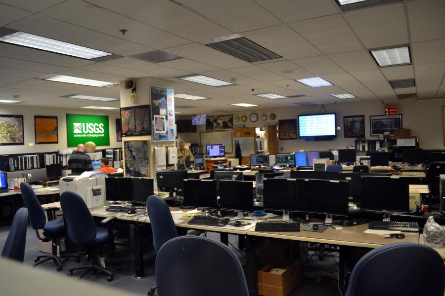 The mission control room for the Landsat satellites. The JWST will have a similar, more modern room at Goddard