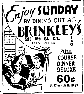 Ad for Brinkley's that ran in the Washington Post.