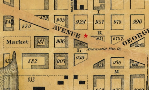 The location of the Anacostia Engine House. The star has been added to this 1851 map to show the exact location. (LOC)
