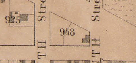 Detail of 1857 map showing Deblois's store on Square 948. The original Tunnicliff's tavern can be seen on the square to the left. (LOC)