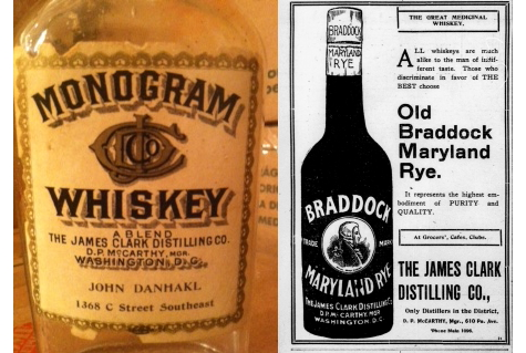 On the left, the bottle. On the right, a 1906 ad for Clark whiskey, indicating that it is from the only distillery in the District (LOC)