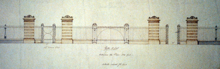 The fence and gates as designed by Charles Bulfinch in 1826 (LOC)